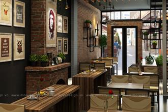 Thiết kế quán cafe đẹp giá rẻ và miễn phí bản vẽ 3D