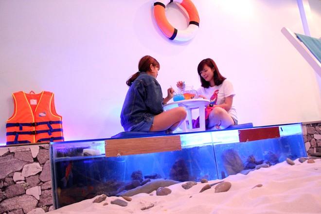 Thích thú với quán cafe có hồ cá dưới chỗ ngồi. Ảnh 3