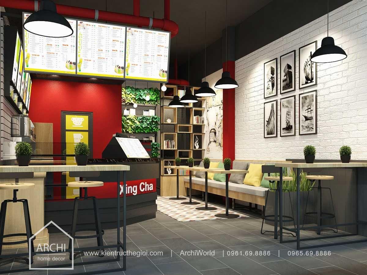 Thiết kế quán cafe nhỏ đẹp theo phong cách hiện đại. Ảnh 3