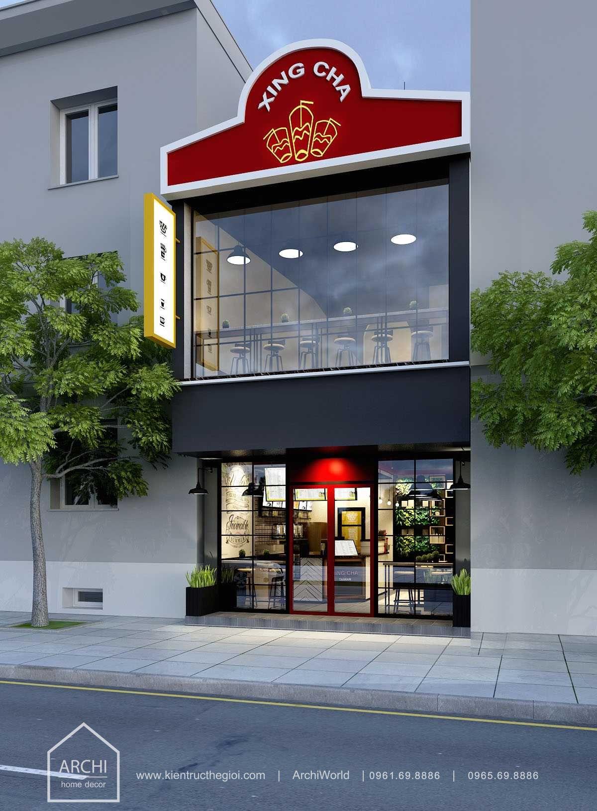 Thiết kế quán cafe nhỏ đẹp theo phong cách hiện đại. Ảnh 1